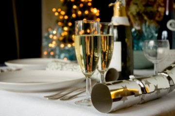 Champage on the table for Christmas dinner