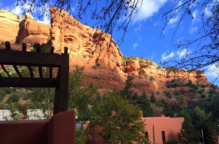 Front entry of Mii amo, a destination spa, in Sedona, Arizona.