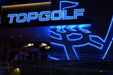Topgolf exterior at night. Photo courtesy Mick Talbott