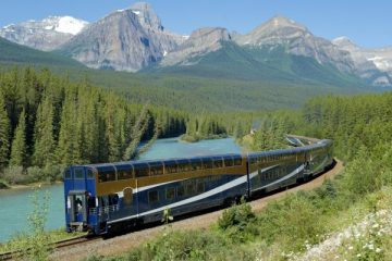 Rocky Mountaineer passes through the Canadian Rockies