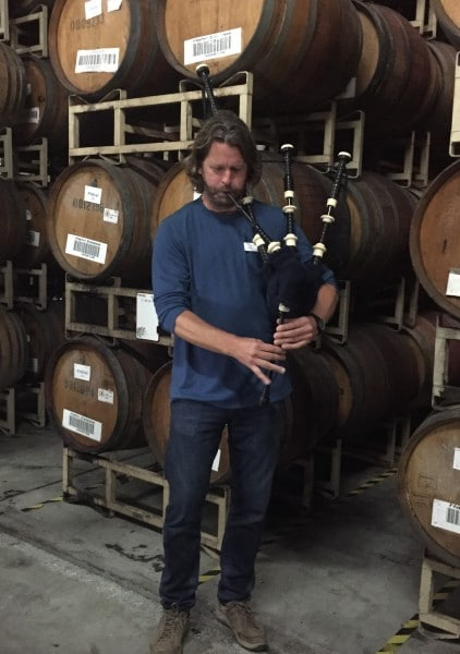Hahn winemaker Greg Freeman plays the bagpipes. Photo by Barbara Barrielle