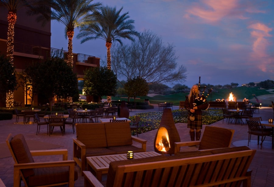 Bagpiper playing in Dreamweavers at dusk. Photo courtesy Westin Kierland Resort