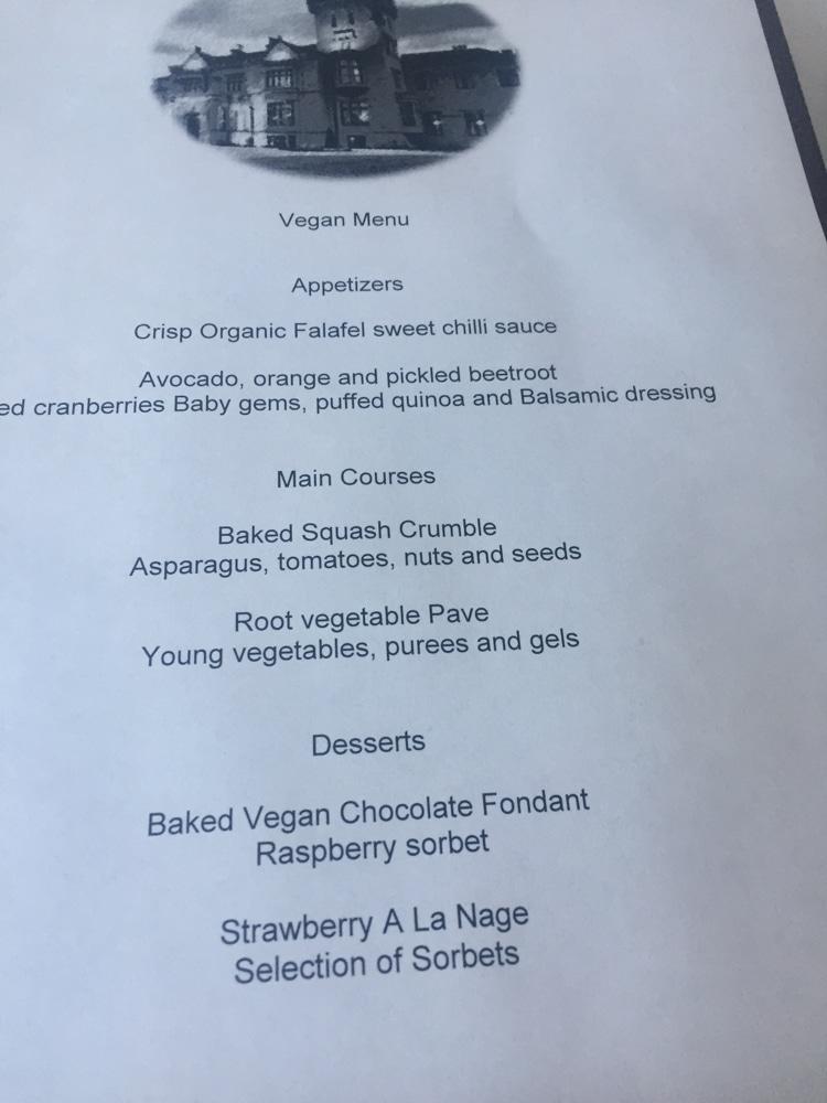 Lough Eske Castle vegan menu