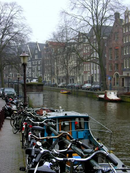 Bikes along an Amsterdam canal