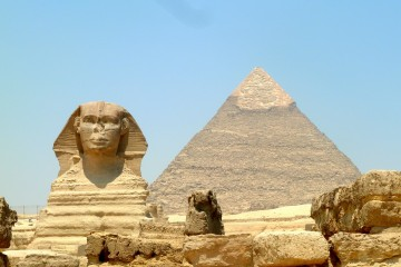 The Sphinx and Pyramid at Giza, Egypt