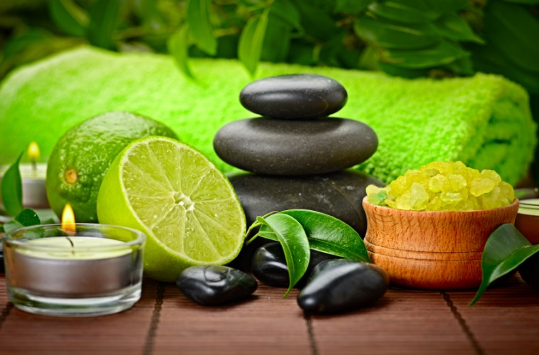 spa concept with lime and sea toning crystals