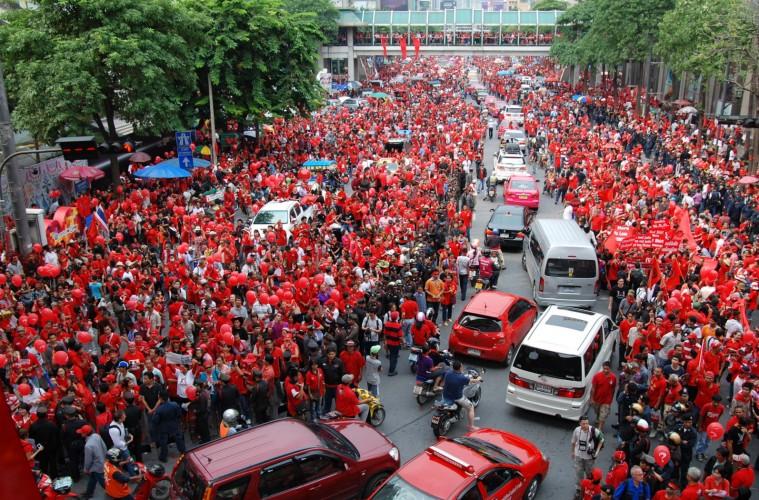 """""""Red Shirt"""" protest at Ratchaprasong intersection, Bangkok"""