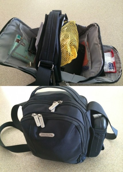The packed boarding bag with all sections open (top) showing the contents and then zipped up (bottom)