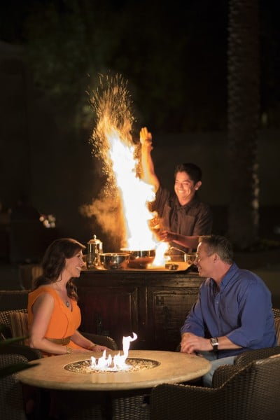 Flaming coffee at La Hacienda. Photo courtesy Fairmont Scottsdale Princess