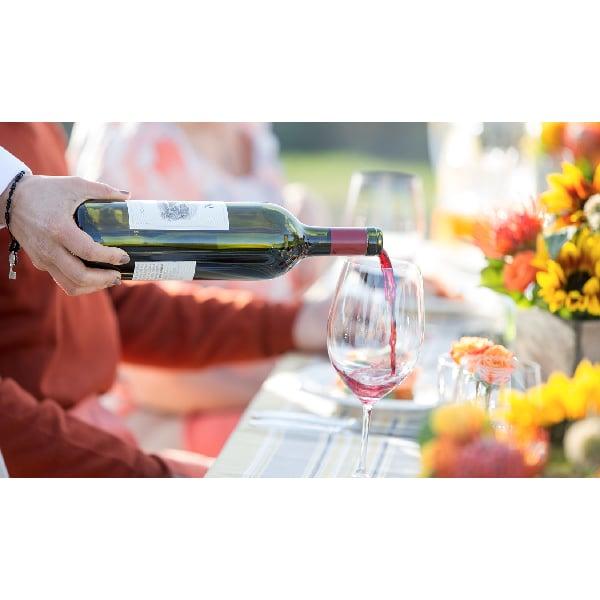 Pouring wine in Sonoma