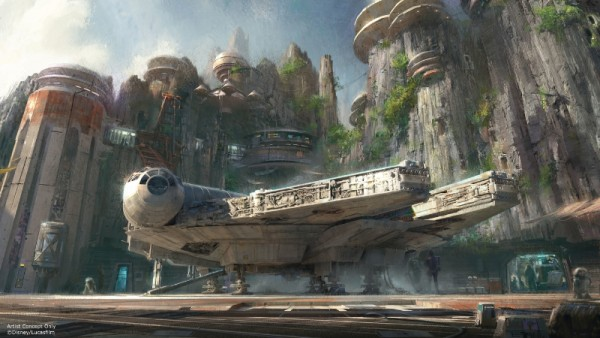 Star Wars-themed lands will be coming to Disneyland park in Anaheim, Calif., and Disney's Hollywood Studios in Orlando, Fla., creating Disney's largest single-themed land expansions ever at 14-acres each. These authentic lands will have two signature attractions, including the ability to take the controls of one of the most recognizable ships in the galaxy, the Millennium Falcon, on a customized secret mission, and an epic Star Wars adventure that puts guests in the middle of a climactic battle. (Disney Parks) (PRNewsFoto/The Walt Disney Company)