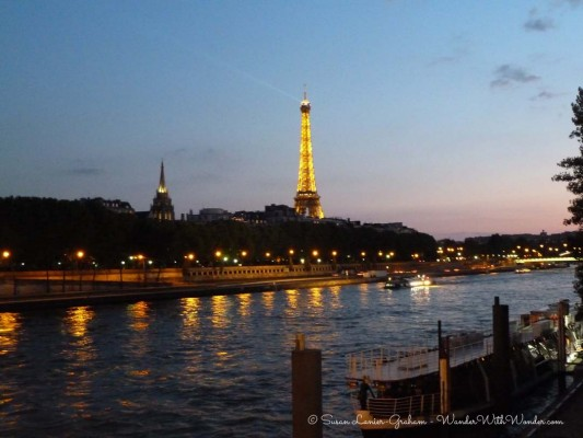 The Eiffel Tower from the Pont de Invalides Bridge over the River Seine. Photo by Susan Lanier-Graham