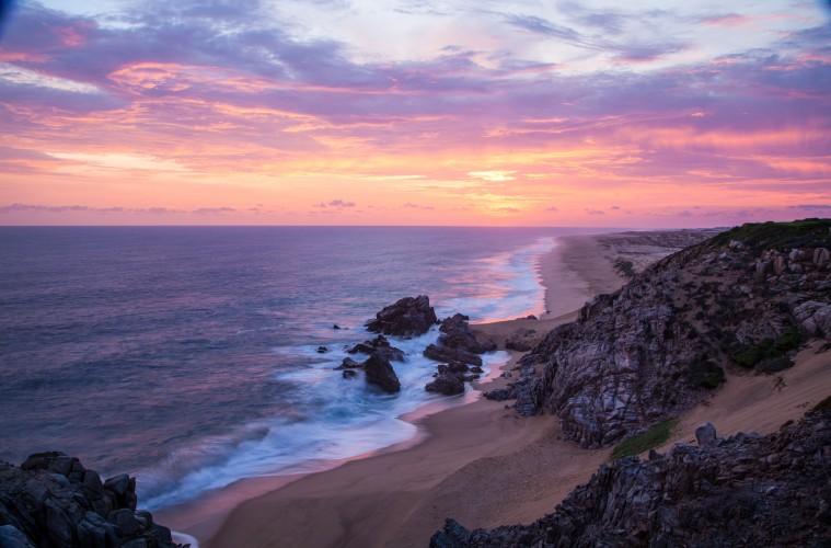 Coastline at Quivira Golf Club at sunset