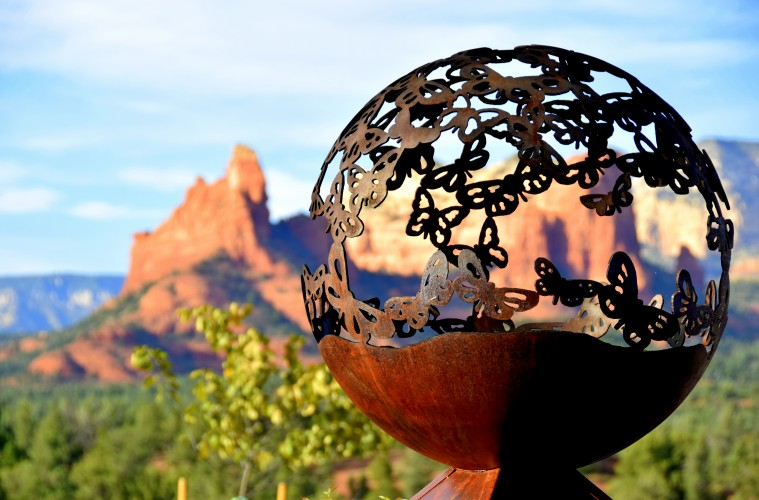 Butterfly orb at entry to Mariposa Latin Inspired Grill in Sedona. Photo by Susan Lanier-Graham