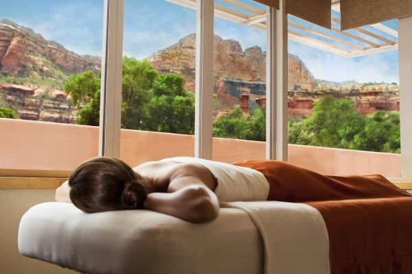 Spa treatment rooms have breathtaking Red Rock views. Photo courtesy Mii amo