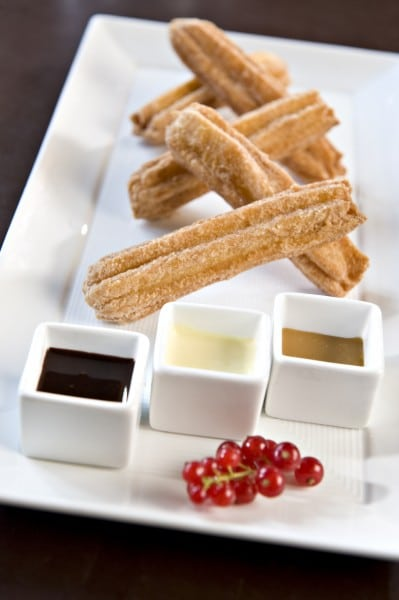 My favorite dessert are the cinnamon churros with three different dipping sauces. Photo courtesy Fairmont Hotels
