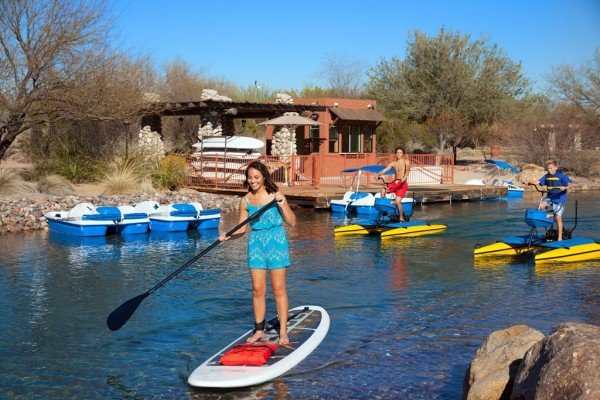 Stand up board and water bikes are available this summer. Photo courtesy Sheraton Grand at Wild Horse Pass