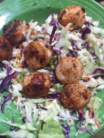After deep fried pickles try the blackened scallop salad at Gnat's Landing. Photo credit: Barbara Barrielle