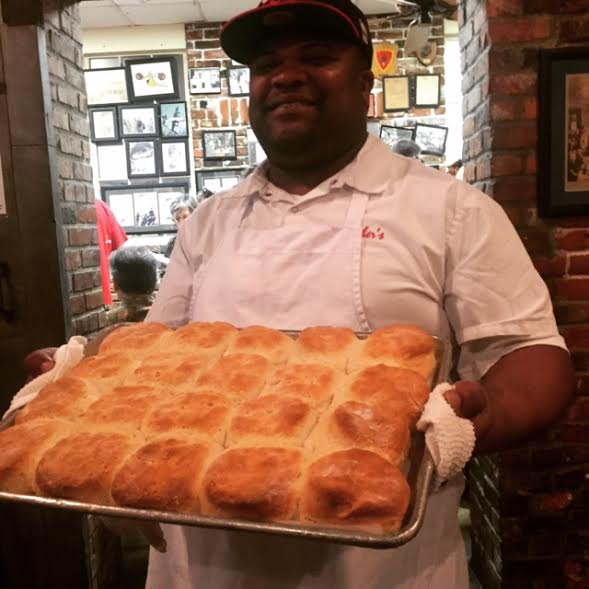 Biscuits, anyone? Serving them up hot and fast at Mother's. Photo be Barbara Barrielle