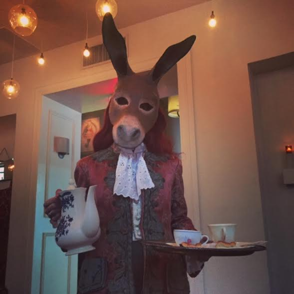 At the elegant International House, whimsy takes over as a donkey serves tea! Photo by Barbara Barrielle