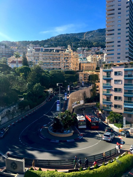 Monaco is also famous for its Grand Prix de Monaco, which takes place each May in the city's winding streets. This is a favorite spot as seen from the Fairmont Monte-Carlo. Photo by Susan Lanier-Graham