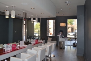 Lush white chairs at the Blo Dry Bar. Photo courtesy of Blo Blow Dry Bar Scottsdale
