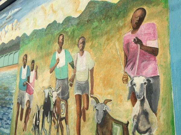 Tobago goat race mural