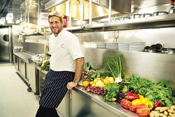 Chef Curtis Stone in the kitchen on a Princess Cruises ship with some of the fresh ingredients. Photo courtesy Princess Cruises