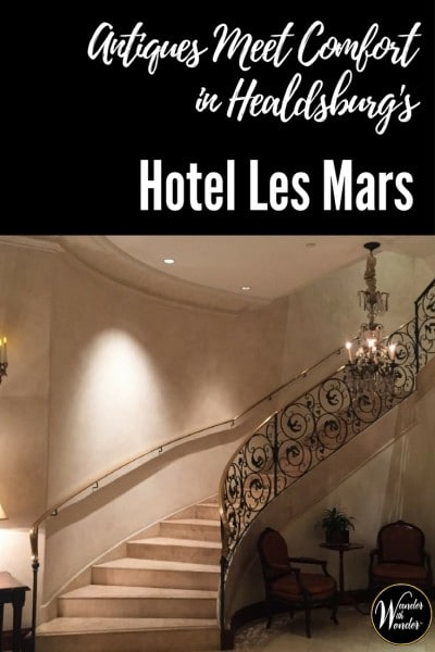 Hotel Les Mars is a 16-room luxury boutique hotel, opened in 2005 in Healdsburg, CA. It perfectly blends antiques, modern comforts and personal attention.