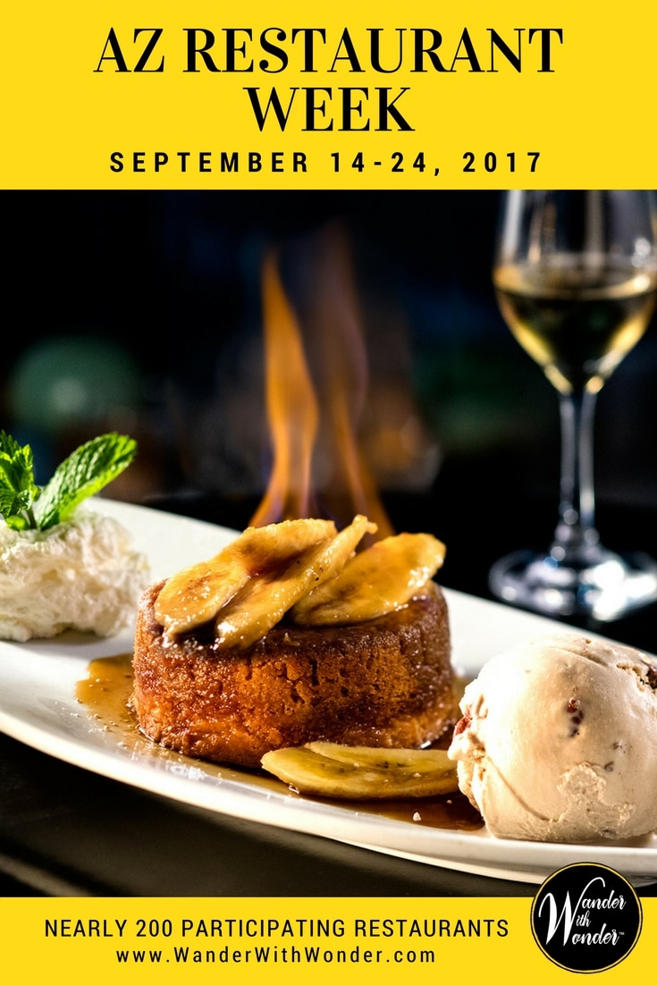 2017Fall ArizonaRestaurantWeek kicks off Sept 15-24, 2017, with nearly 200 participating restaurants offering 3-course meals for $33 or $44 per person.