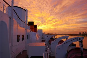 Sunset on the HMS Queen Mary in Long Beach, CA. Photo by Susan Lanier-Graham