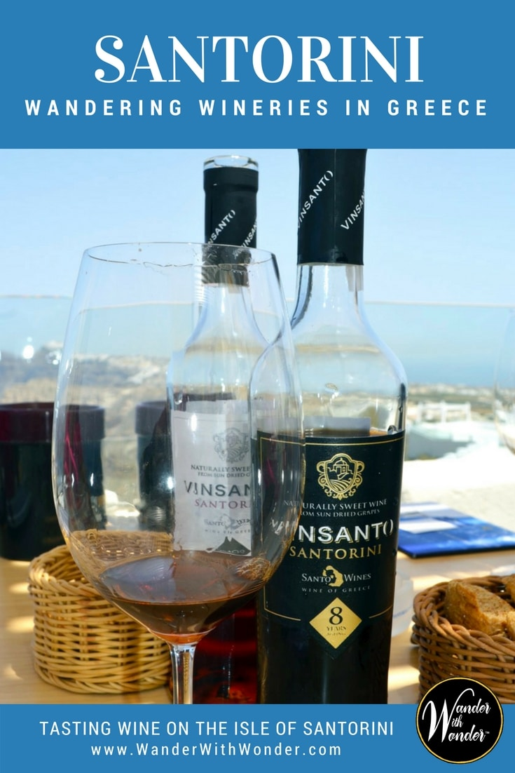 Tasting wine on Santorini will wow anyone because the Santorini wineries offer the most spectacular panoramic views I have ever experienced. #Greece #Santorini #Wineries #wines