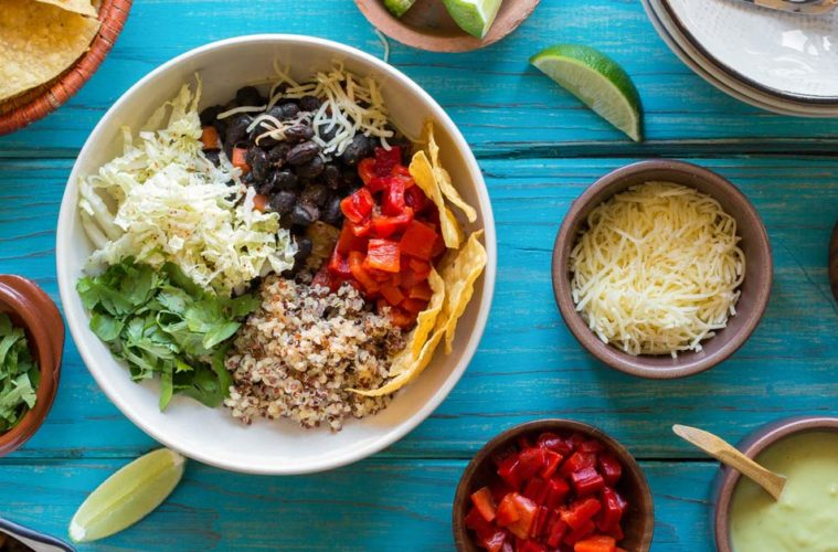 Black Bean Burrito Bowls with Avocado Crema from Sun Basket. Photo courtesy Sun Basket