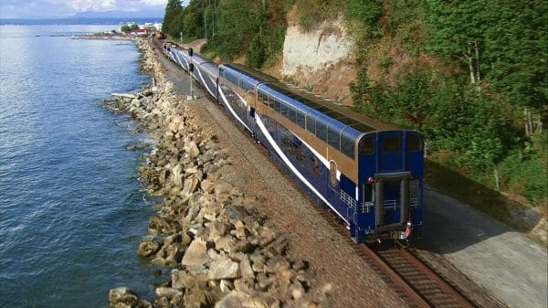Coastal Passage train heading northbound along the coast. Photo courtesy Rocky Mountaineer