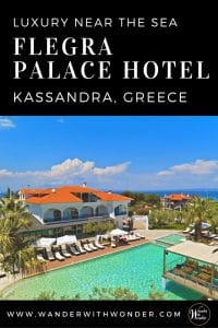 Stay at the luxurious four-star Flegra Palace Hotel. It's on Kassandra Peninsula in Halkidiki Greece, known for crystal clear beaches and small towns. #greece #luxuryhotels #luxury #halkidiki #kassandra #beach #beachresorts #vacation #europe #wander #flegrahotels #seaside