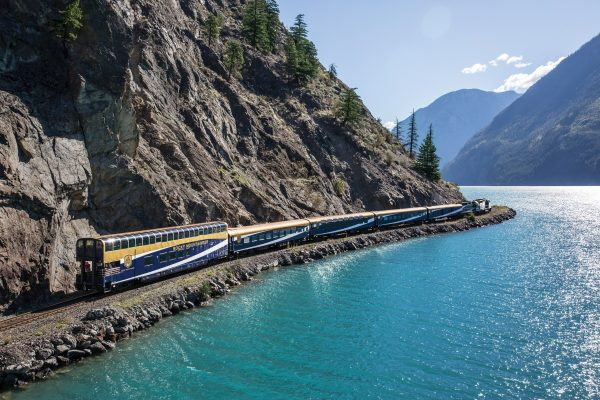 Rocky Mountaineer traveling along the sparkling waters of Seton Lake on the Rainforest to Gold Rush route. Photo courtesy Rocky Mountaineer