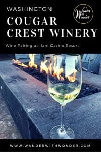 Delve into fine cuisine of Line & Lure restaurant paired with wines of Cougar Crest Estate Winery at Ilani Casino Resort north of Portland, Oregon. #wine #winery #winetasting #Washington #pacificnorthwest #pnw #oregon #washingtonwine #oregonwine #ilanicasino #wanderwithwonder #wander