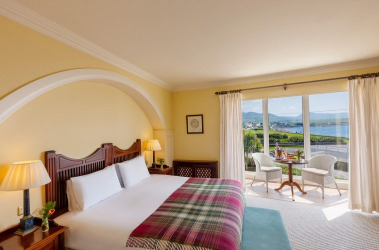 Guest room with a view of the Atlantic Ocean at the Butler Arms Hotel in Waterville, Ireland.