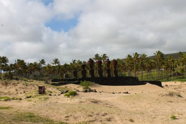 Anakena Beach on Easter Island with Moai. Photo by Vickie Lillo