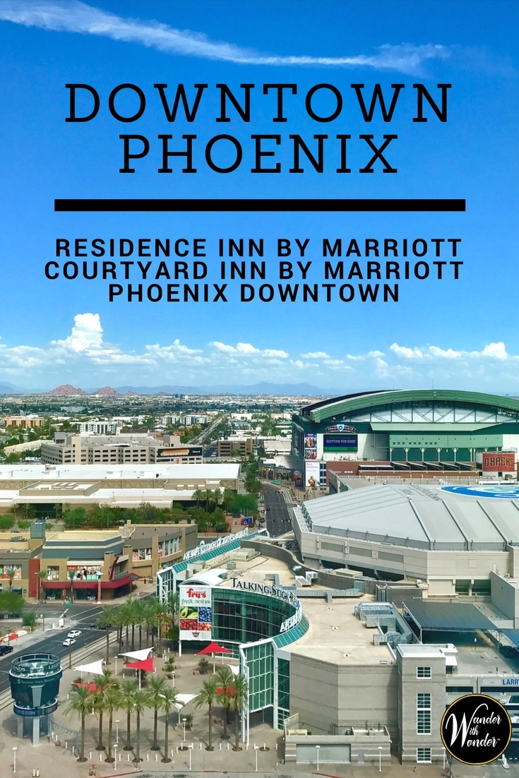 Stay in the heart of Phoenix in this two-in-one Residence Inn + Courtyard by Marriott Phoenix Downtown at the corner of Central and Madison avenues. Only 10 minutes from PHX Airport, it's walking distance to Chase Field, downtown restaurants, nightlife, Talking Stick arena, the Light Rail and more. #Travel #FamilyTravel #Phoenix #Arizona #DowntownPhoenix #Baseball