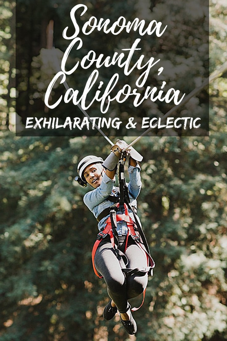 Sonoma County, California is filled with exhilarating and eclectic wow moments. If you love adventure—whether a little or a lot—Sonoma is the place to kick back and enjoy. Of course, there's plenty of great food and wine waiting at the end of the day. #SonomaCounty #Sonoma #Adventure #AdventureTravel #Exhiliarating #Zipline #ZiplineSonoma #SonomaPassion