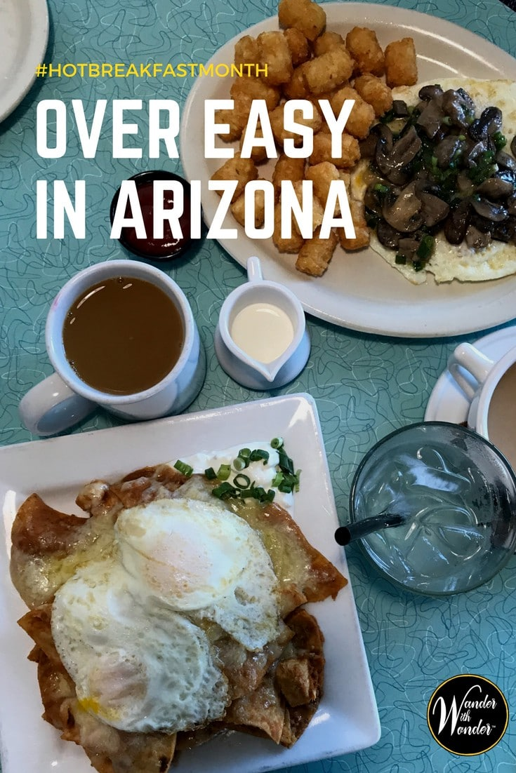 Try Over Easy for Hot Breakfast Month. Surrounded by cheerful yellow, you'll feel as if you've wandered into a small mom and pop diner, but with great elevated dishes. Take advantage of the easy Arizona lifestyle at Over Easy, with several locations throughout the Valley. Be sure to try the waffle dogs! #HotBreakfastMonth #diner #dinerfood #food #foodie #breakfast #Arizona #Phoenix #BestBreakfast #restaurants