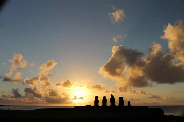 Sunset at Tahai Archeological Complex on Easter Island. Photo by Vickie Lillo