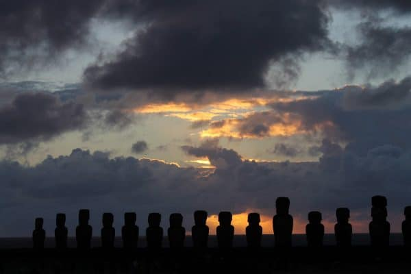 Tongariki at Sunrise on Easter Island. Photo by Vickie Lillo