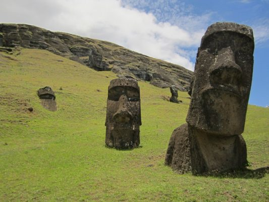 Moai on Easter Island or Rapa Nui