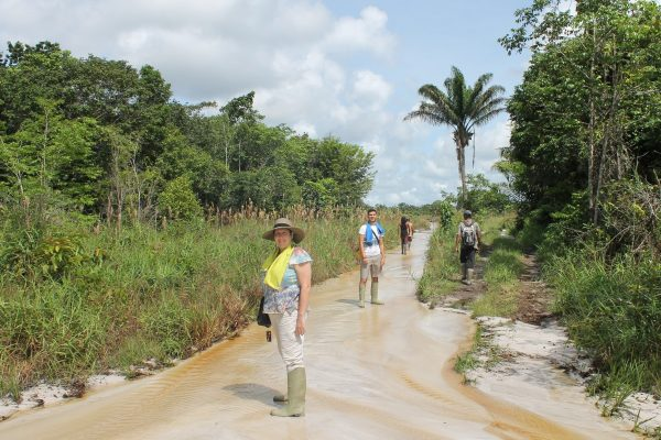 Trekking on the Reservation Road near the Ayonto Hororo Eco-Lodge in Guyana