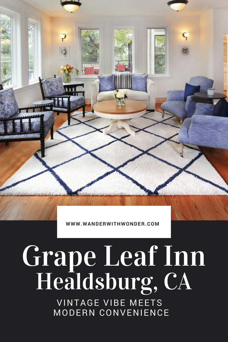 Think of the Grape Leaf Inn, in Healdsburg, California, as an ideal place to plan a wine country getaway for adults. Quiet, clean and full of natural light, the low-key property offers a perfect balance between hotel privacy and the intimacy of a B&B. #luxury #luxuryinn #sonoma #sonomacounty #b&b #winecountry #romanticinn #travel