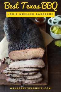 Folks come from far and wide to a gritty cotton town east of Austin, Texas, to find the best BBQ in Texas at Louie Mueller Barbecue. #FamilyTravel #food #BBQ #Barbecue #WanderWithWonder #Texas #Austin