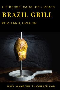 Newly renovated and very chic, Portland's traditional Brazilian churrascaria, Brazil Grill, has just reopened. With a hip new cocktail lounge and signature cocktails to match, along with new lighting and decor, this eatery serves up traditional meats (and even pineapple) on a skewer for an all-you-can-eat price. #Portland #restaurant #Oregon #Portlandfood #foodie
