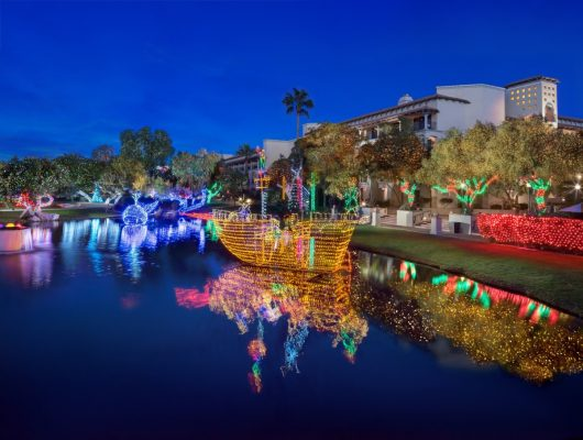 Lagoon Lights include the Pirate Ship during Christmas at The Princess. Photo courtesy Fairmont Scottsdale Princess